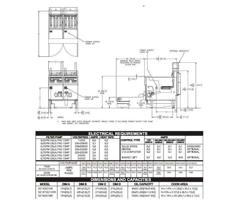 Pitco Fritteuse Elektro-Computer | Pitco Solstice SE14T | 8,5kW | Oil 11,5kg | 75kg / h | 397x873x864 (h) mm