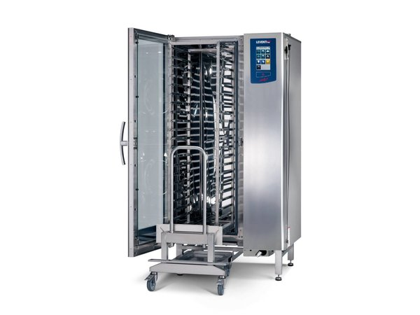 Leventi Combisteamer ME 1:20 FDI Pet | 20x / 15x AND 40x60 or GN1 / 1 | 36kW | Incl. Frame and Trolley | 899x831x1852 (h) mm