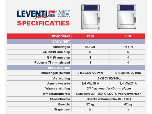 Leventi Kombidämpfer 6x 2 / 3GN   Leventi ME SLiM 23.06   6,6kW   400V   515x630x720 (h) mm