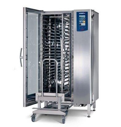 Leventi Kombidämpfer ME 01.20 FDI Pet | Gas 42kW | 20x / 15x UND 40x60 oder GN1 / 1 | Inkl. Rahmen und Trolley | 899x831x1852 (h) mm