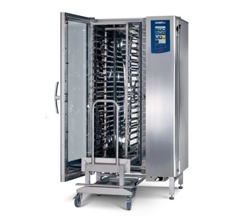 Leventi Combisteamer ME 1:20 FDI Pet | Gas 42kW | 20x / 15x AND 40x60 or GN1 / 1 | Incl. Frame and Trolley | 899x831x1852 (h) mm
