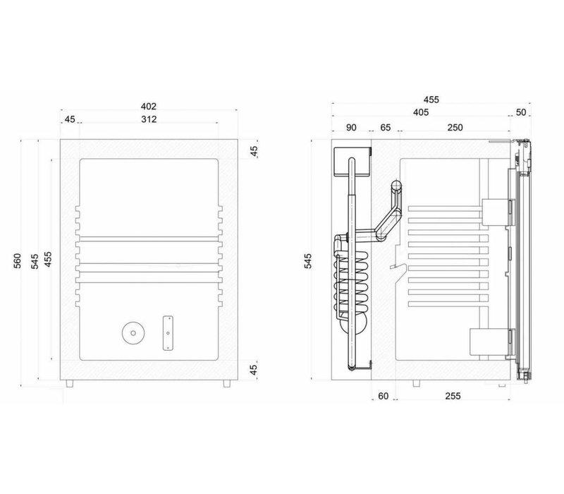 Diamond Silent-Mini Kühlschrank - 42 Liter - Glastür - XXL Angebot - 40x45x (h) 56cm