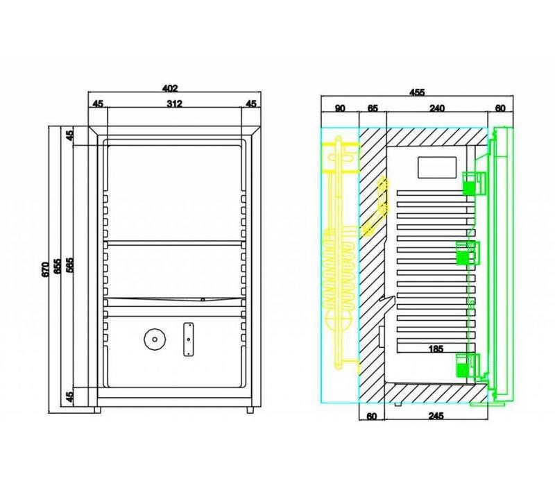 Diamond Minibar - 50 Liter - glazen deur - 40x45x(h)68cm
