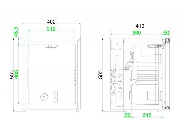 Diamond Bar Minibar / Kühlschrank für Hotel - 30 Liter - 40x42x (h) 50cm - SILENT MODELL
