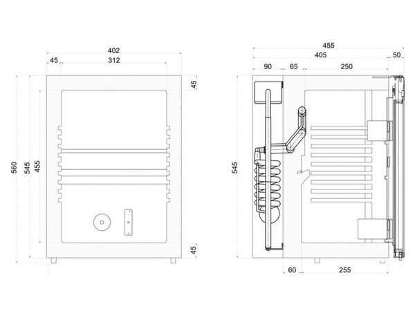 Diamond Bar fridge / minibar - 40 Liter - 40x45x (h) 56cm - SILENT MODEL