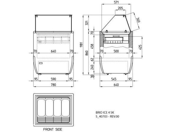 Diamond IJsvitrine Rechte Ruit | Geschikt voor 4 IJsbakken | 780x640xh1185mm