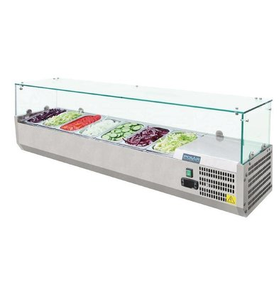 Polar Refrigerated display case design stainless | 7x GN1 / 4 | 1500 (b) X380 (d) x435 (H) mm