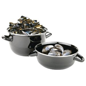 XXLselect Mussel Black | Stainless Steel Edge | Large Portions | dishwasher | Ø210mm | 1,5kg