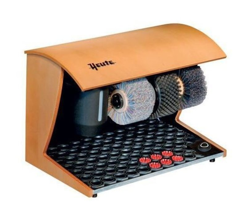 Heute Shoeshine machine Elegance Nature | 3 Brushes | Wood - Available in 7 Colors | 500 (L) x300 (d) x360 (H) mm