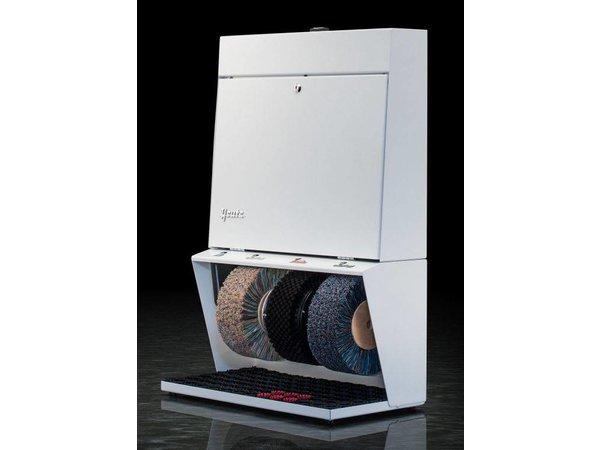 Heute Schuhputzmaschine Polifix 3 | 3 Bürsten | Steel - Erhältlich in 8 Farben | 560 (L) X310 (d) X850 (H) mm