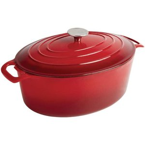 XXLselect Rote ovale Kasserolle - 30x23x (h) 18cm