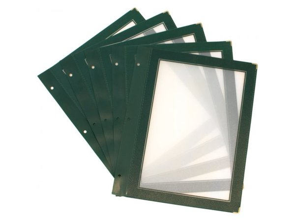 Securit Inserts for WOOD Menu - green A4 - 5 pieces