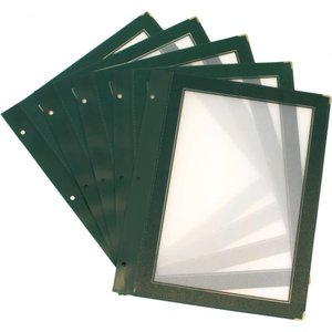 Securit Inserts for WOOD Menu - Green A5 - 5 pieces