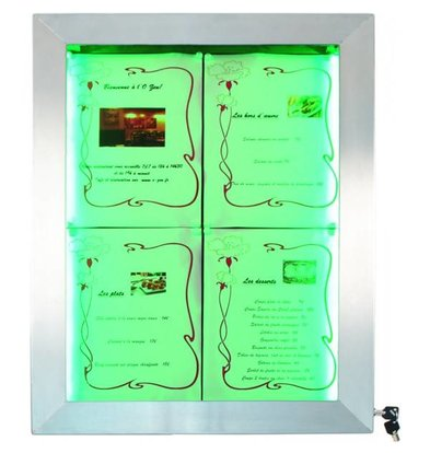 Securit Menu cabinet with LED lighting - Stainless steel DELUXE - 4xA4 - WATCH VIDEO