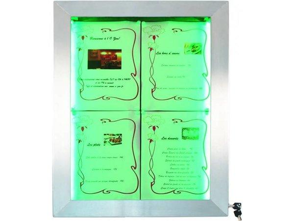 Securit Menü Schrank mit LED-Beleuchtung - Edelstahl DELUXE - 4xA4 - VIDEO