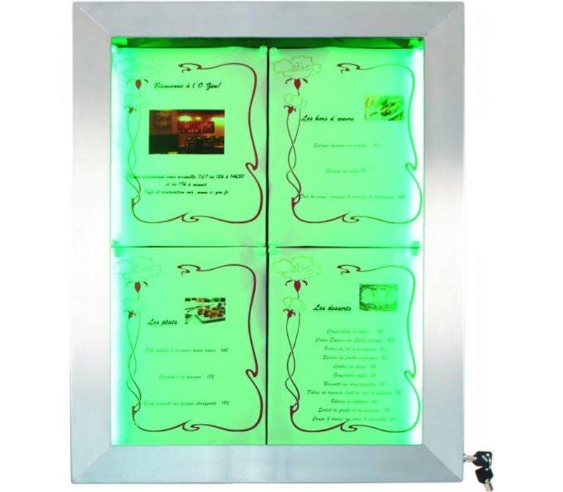 Securit Menukast met LED-verlichting - RVS DELUXE - 4xA4 - BEKIJK VIDEO