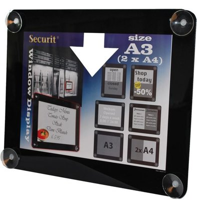 Securit Fenster Poster-Display Schwarz A3