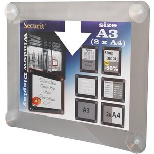 Securit Fenster Plakatanzeige Grau A3