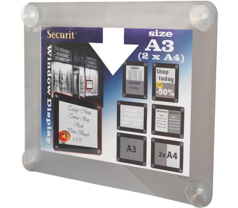 Securit Window poster display Grey A3