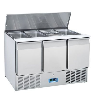 CaterCool Saladette CaterCool SS 3 Türen | 1370x700x (H) 850mm | 4x 1/1 GN