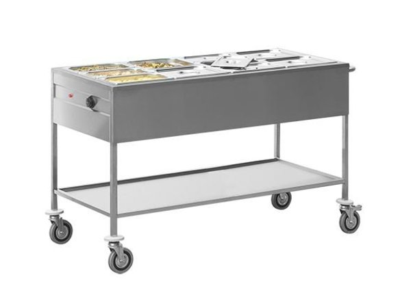 Caterchef Bain-Marie trolley | Double walled stainless steel | 670x1490x (H) 860mm | 4 / 1GN
