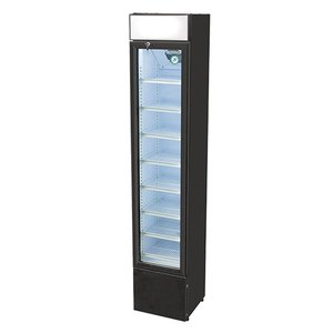 XXLselect Koelkast Zwart   8 Verstelbare Roosters   Zelfsluitende Dubbelwandige Glazen Deur   110 Liter
