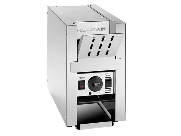 XXLselect Conveyor Toaster RVS | met Warmhoudplateau | 800Watt | 220x510x(H)370mm