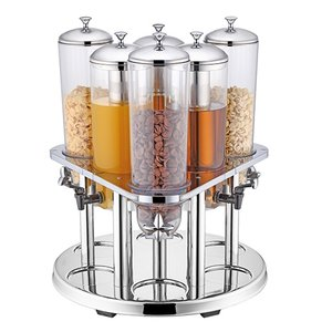 XXLselect Stainless steel dispenser | Drink 3x + 3x Cereal | Ø540x (H) 600mm