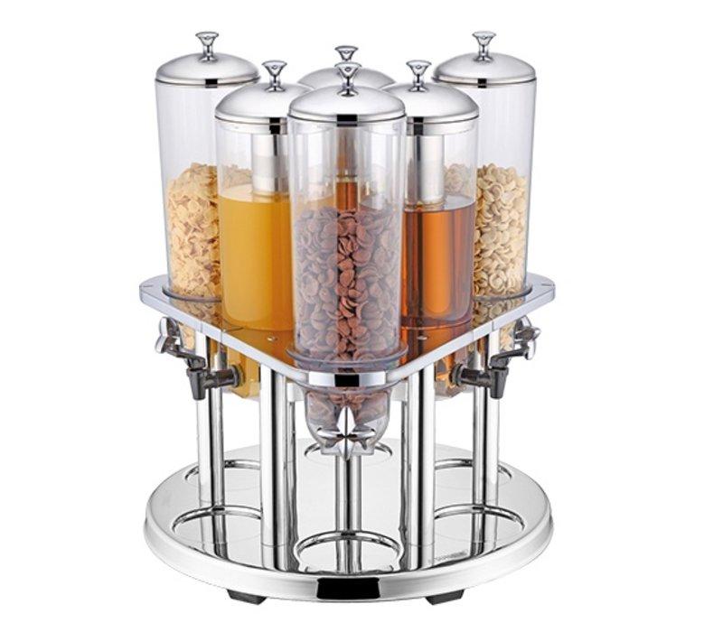 XXLselect Stainless steel dispenser | Drink 3x + 3x Cereal | Ø540x (H) 600mm