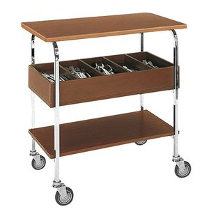XXLselect Trolley Chromed Frame | 2 Plateau's Laminated blades Cutlery Unit | 840x450x (H) 800mm