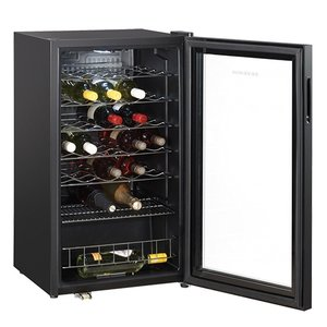 XXLselect Wijnklimaatkast Zwart Geepoxeerd | Led Display met Glazen Deur | 480x470x(H)840mm | 33 Flessen