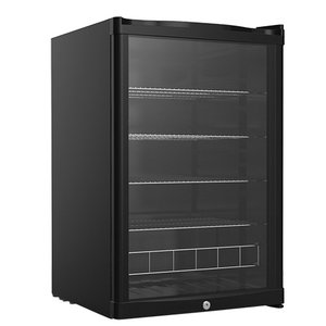 XXLselect Koelkast Zwart Tafelmodel | Dubbelwandige Glazen Deur | 4 Verstelbare Roosters | 130 Liter