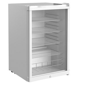 XXLselect Refrigerator White Tabletop | Double-walled Glass Door | 4 adjustable diffusers | 130 liter