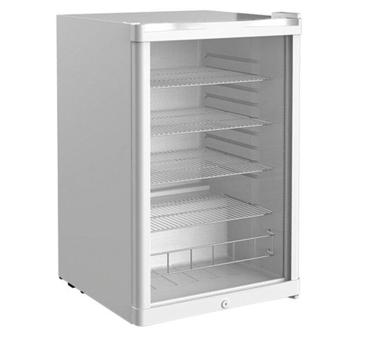 XXLselect Kühlschrank weiße Tischplatte | Doppelwandige Glastür | 4 verstellbare Diffusoren | 130 Liter