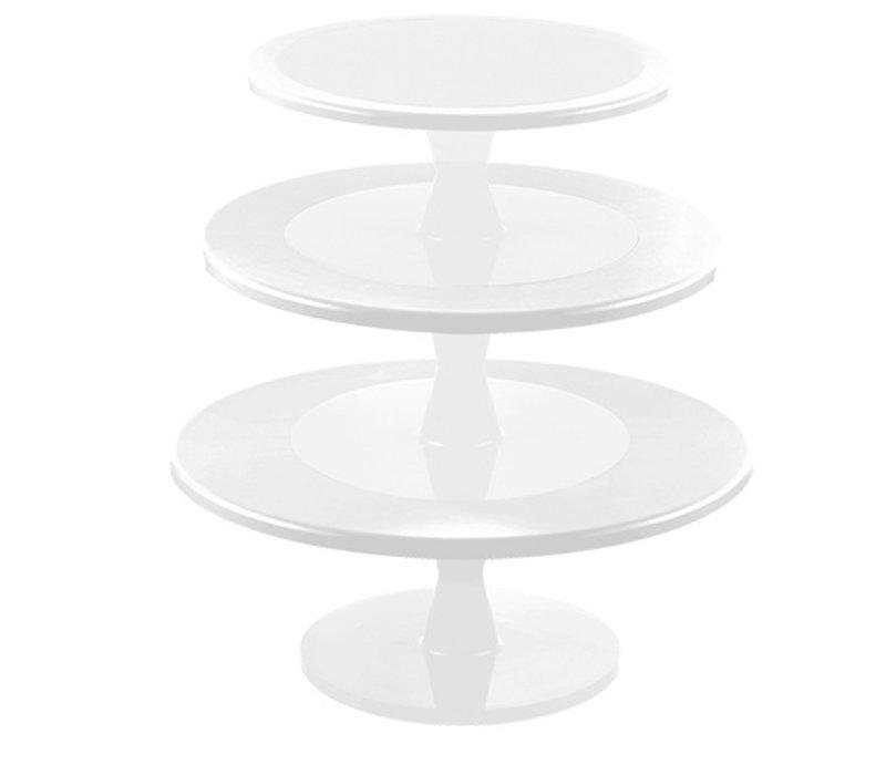 XXLselect Kuchen Standard Kunststoff Weiss   mit DrehbarerStandfuß   3 etages   Ø240 / 300 / 350x (H) 440mm