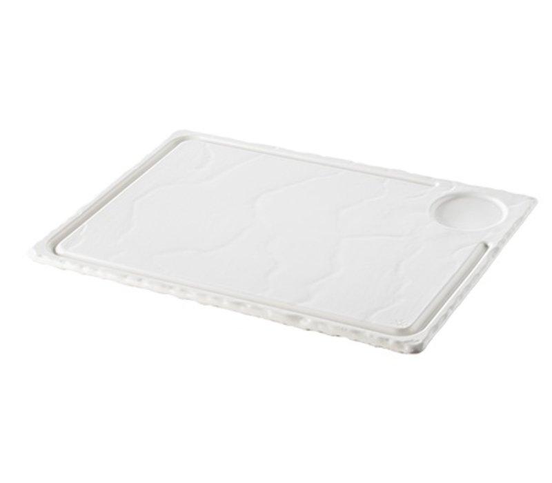 XXLselect Steak-Platte Basalt Porzellan Weiß | 330x220x (H) 15