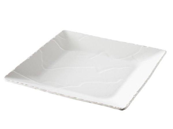 XXLselect Weiße Porzellanteller Basalt | Schauen Schiefer | 280x280x (H) 330mm