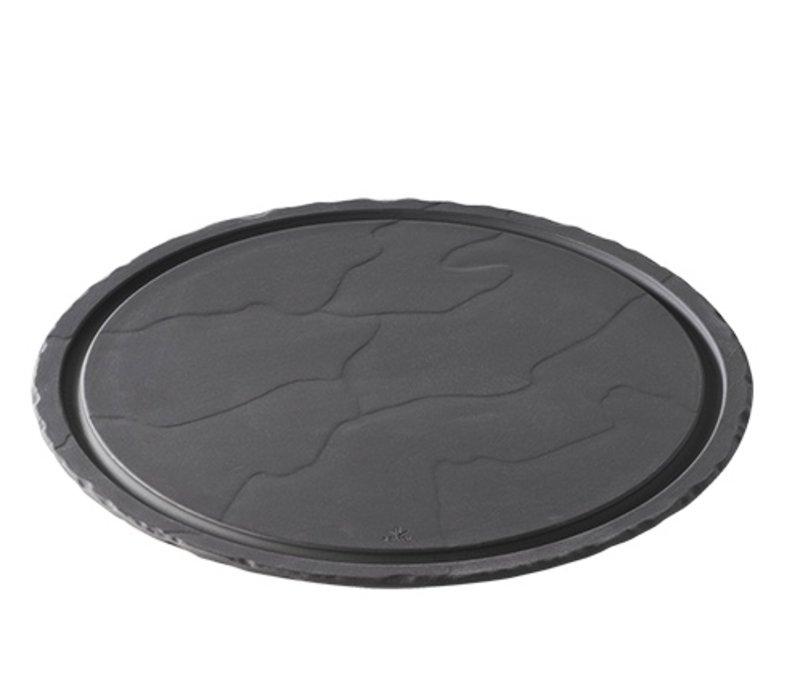 XXLselect Steak-Platte Basalt Porzellan   Schauen Schiefer   Ø300x (H) 10 mm