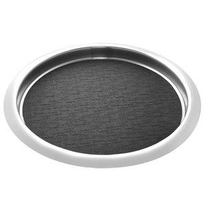 XXLselect Edelstahl runden Tablett   Anti-Rutsch-Matte   Ø360mm