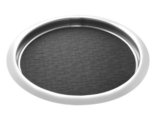 XXLselect Edelstahl runden Tablett | Anti-Rutsch-Matte | Ø360mm