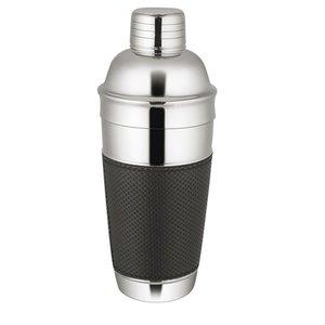 XXLselect Cocktail Shaker Premium-Edelstahl 18/10 | Schwarz-Leder-Band | Ø90x (H) 240mm