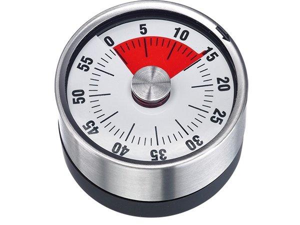 XXLselect Edelstahl-Küche-Timer   Magnet mit 60 Minuten   Ø62mmx (H) 36 mm