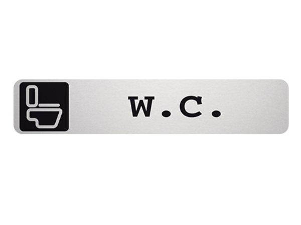 XXLselect Text plate WC Rectangle | Adhesive Aluminium | 85x160mm