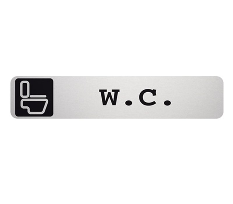 XXLselect Tekstplaatje W.C. Rechthoekig | Zelfklevend Aluminium | 85x160mm