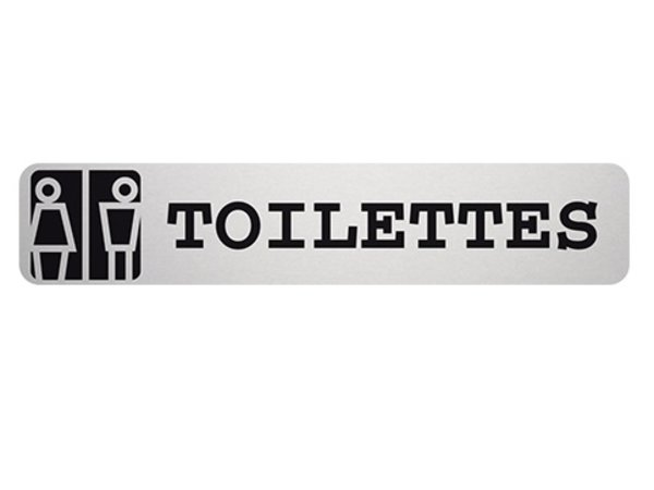 XXLselect Text Picture Toilets Rectangle   Adhesive Aluminium   85x160mm