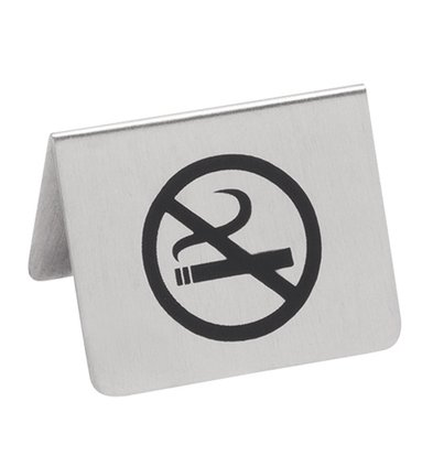 XXLselect Bordje No Smoking RVS | 2 Zijdig Bedrukt | 55x(H)45mm