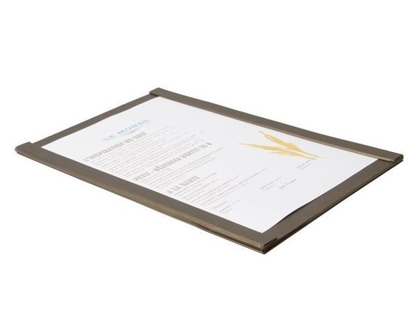 Securit Magnetic Menu Holder | A4 Format | Brown