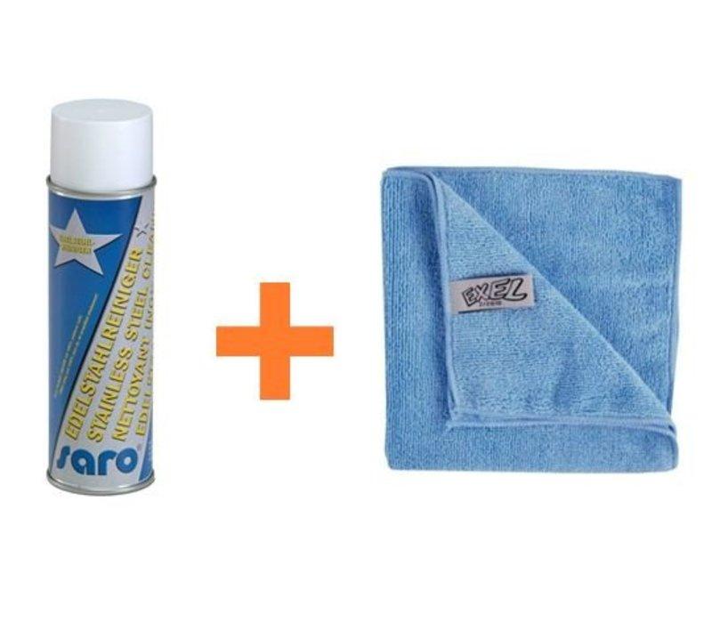 Edelstahl-Reinigungs-Set | Edelstahl-Reiniger + Mikrofasertücher