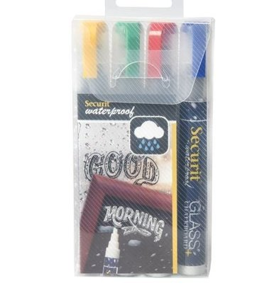 Securit Wasserdicht Chalk Marker Blau, Rot, Grün, Gelb | 2-6mm | 4 Stück