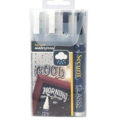 Securit Wasserdicht Krijtstiften2x Schwarz, 2x Weiß | 2-6mm | 4 Stück